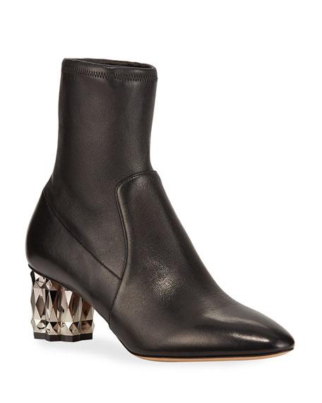 Salvatore Ferragamo Women's Camelia Leather High-Heel Booties In Nero
