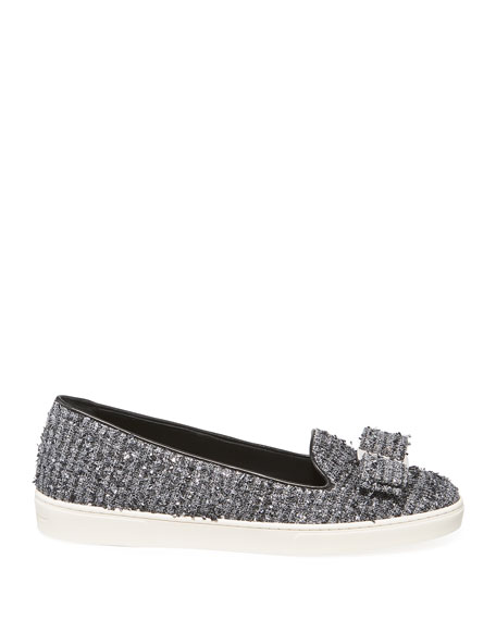 Image 2 of 3: Salvatore Ferragamo Novello Tweed Vara Bow Slip-On Flats