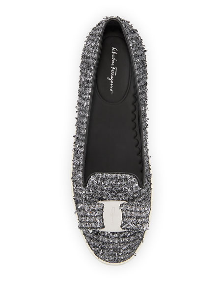 Image 3 of 3: Salvatore Ferragamo Novello Tweed Vara Bow Slip-On Flats