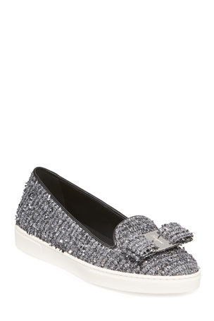 Salvatore Ferragamo Novello Tweed Vara Bow Slip-On Flats