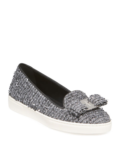 Image 1 of 3: Salvatore Ferragamo Novello Tweed Vara Bow Slip-On Flats