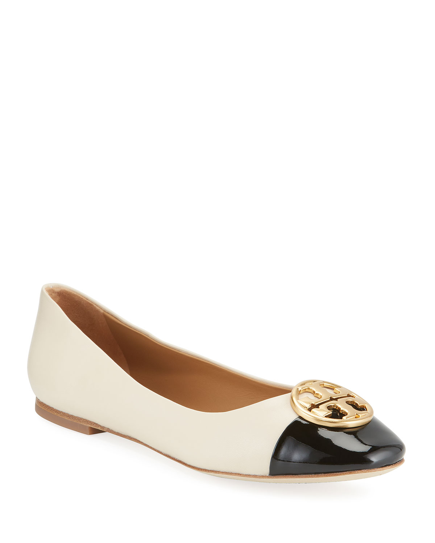 f8a7c0ad5f0 Tory Burch Chelsea Cap-Toe Leather Ballet Flats