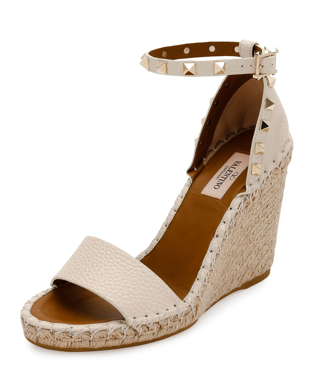 1a6aae6f404a Valentino Garavani Rockstud Double Espadrille Wedge Sandals