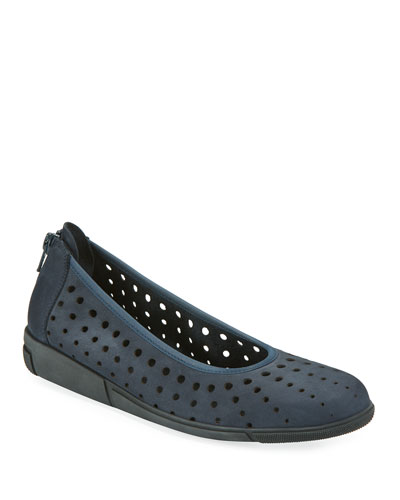 Dova Perforated Slip-On Flat  Navy