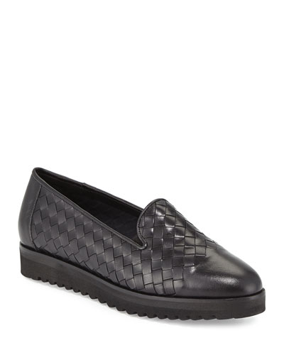 Naia Woven Leather Loafer  Black
