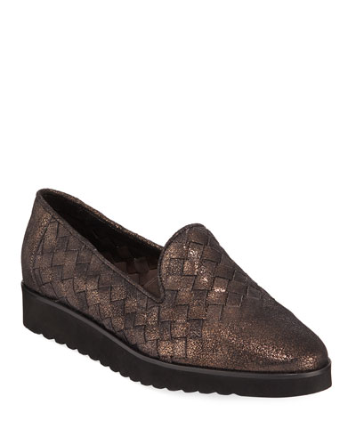Naia Iconic Woven Metallic Leather Loafers  Brown