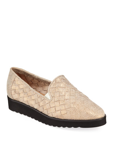 Naia Iconic Woven Leather Loafers  Pewter