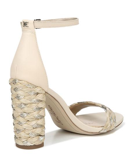 Sam Edelman Yoana Metallic Raffia High-Heel Sandals