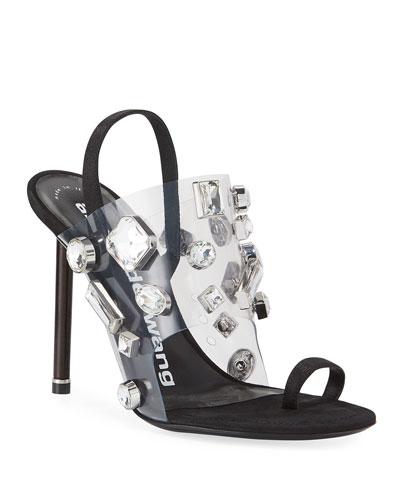 Kaia Clear Jeweled Slingback Sandals