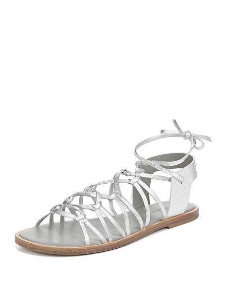 Vince Palmera Flat Metallic Leather Gladiator Sandals