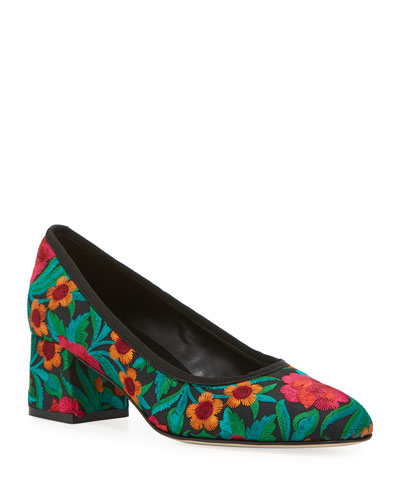 Megs Floral Embroidered Pumps