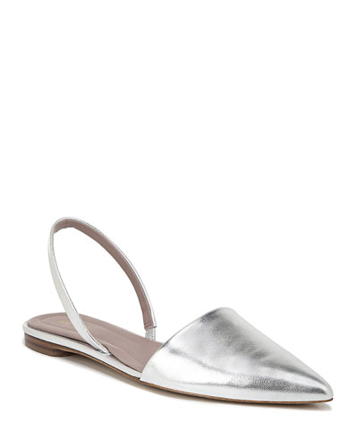 Koko Metallic Leather Slingback Flats