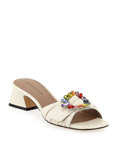 Bate Jeweled-Buckle Leather Sandals