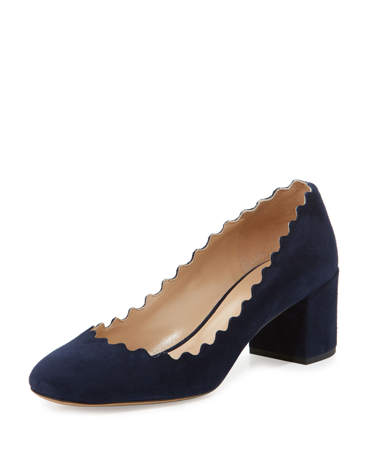 lauren-scalloped-suede-block-heel-pumps by chloe