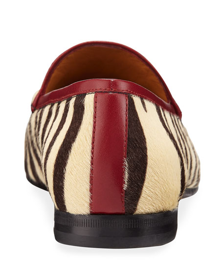 Gucci New Jordaan Zebra-Print Calf Hair Loafers