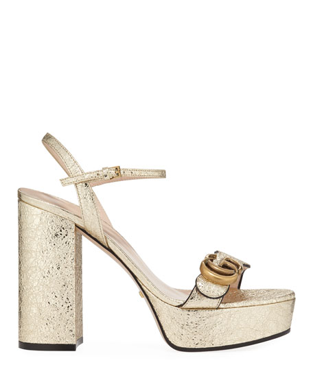Gucci Marmont Metallic Block-Heel Platform Sandals