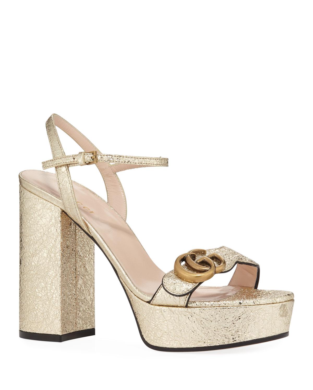 611aca85c7d4e Gucci Marmont Metallic Block-Heel Platform Sandals   Neiman Marcus
