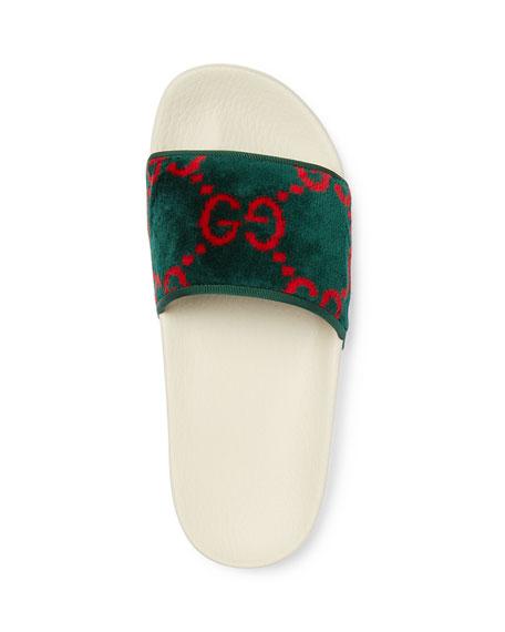 Gucci Pursuit Terry Cloth Logo Pool Slide Sandals