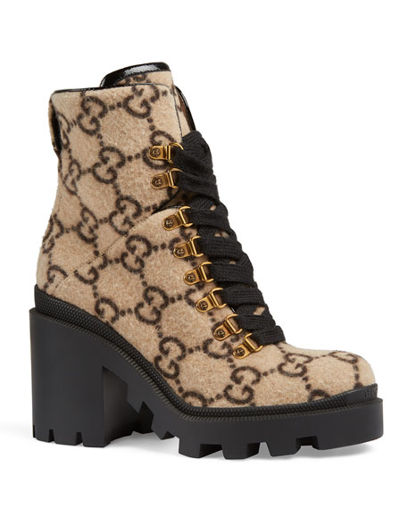 Gucci Trip GG Wool Lace-Up Booties