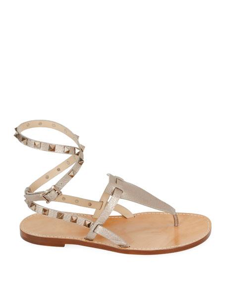 Valentino Garavani Rockstud Alce Metallic Ankle-Wrap Thong Flat Sandals