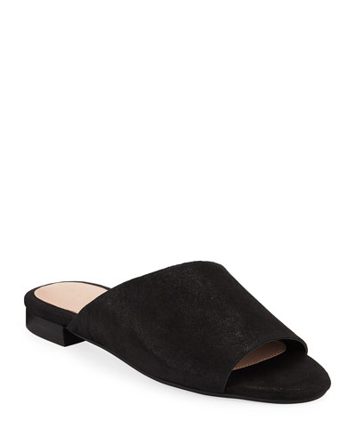 Vanessa Shimmery Suede Flat Sandals