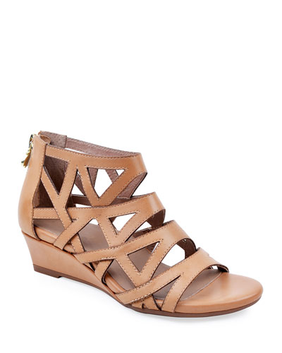 Sashi Burnished Leather Caged Wedge Sandals