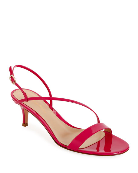 Gianvito Rossi Strappy Low-Heel Patent Sandals