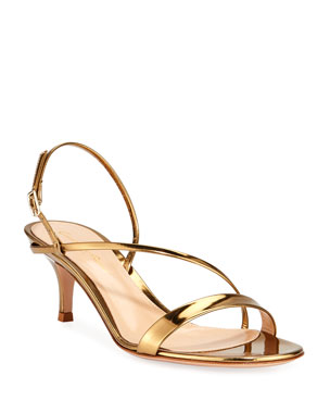 29484a26a74c Gianvito Rossi Strappy Low-Heel Metallic Leather Sandals