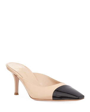 396c665292ca Gianvito Rossi Patent Leather Cap-Toe Mules