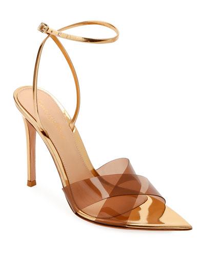 XX Plexi Metallic Ankle-Wrap Sandals