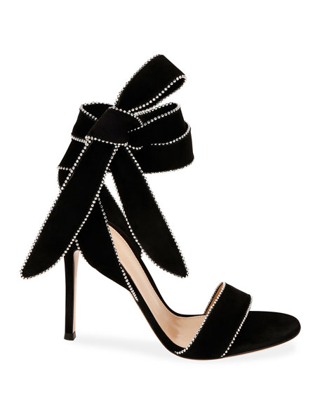 Image 2 of 3: Gianvito Rossi Beaded Suede Ankle-Tie Bow Sandals