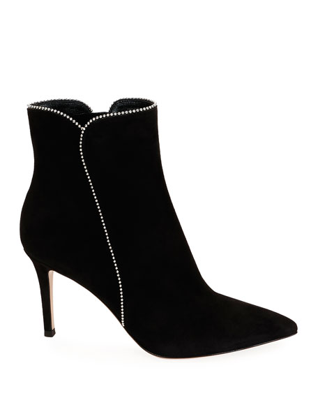 Gianvito Rossi Beaded Suede Ankle Booties