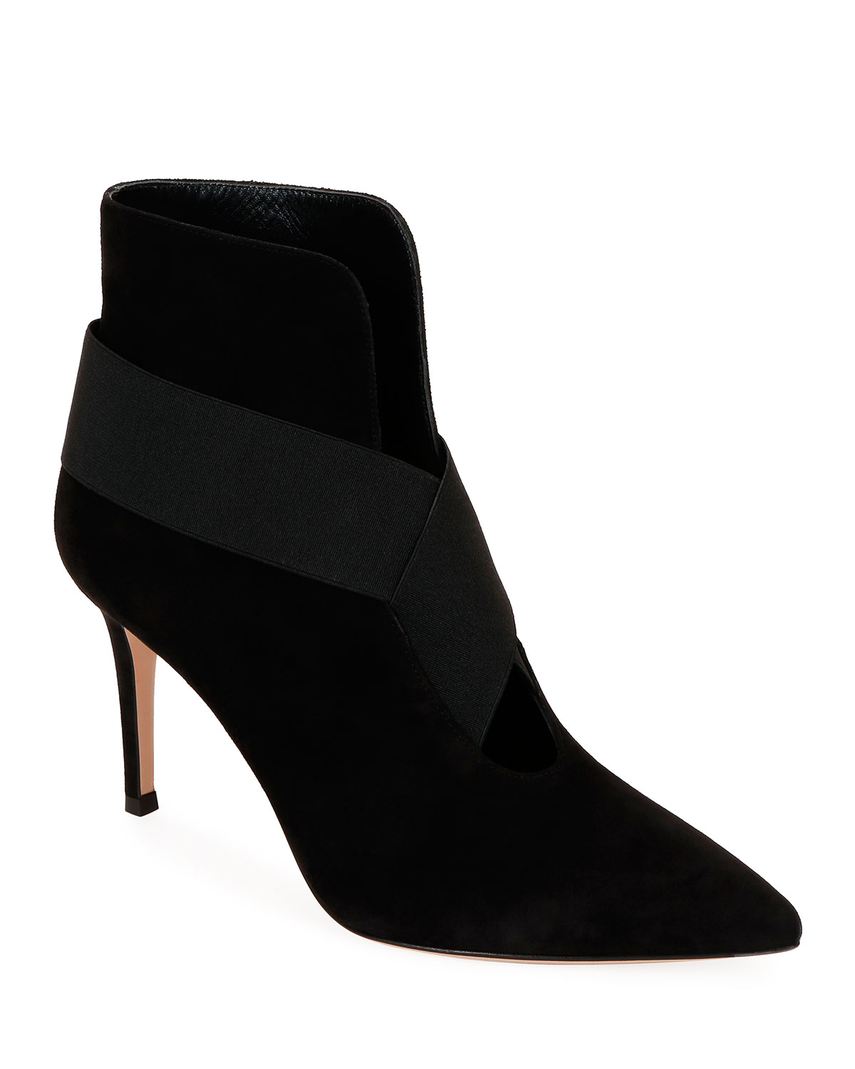 Open Front Suede Ankle Booties by Gianvito Rossi