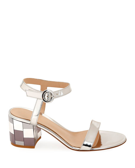 Gianvito Rossi Mirrored Block-Heel Metallic Sandals
