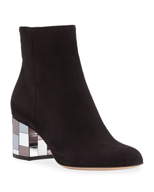b2ae69c455d5 Gianvito Rossi Suede Mirror-Heel Ankle Booties