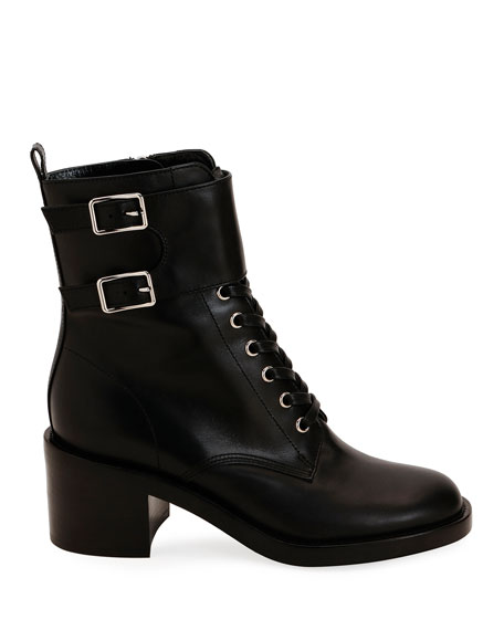 Gianvito Rossi Calf Leather Side-Zip Combat Booties