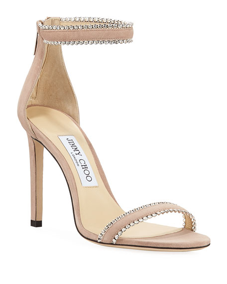 Jimmy Choo Dochas Jeweled Ankle-Strap Sandals