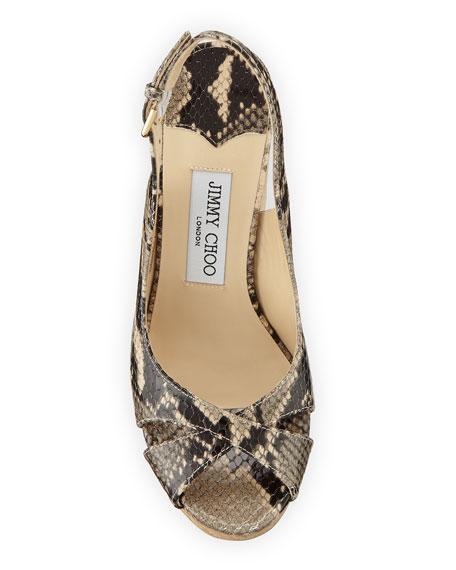 Jimmy Choo Amely Snake-Print Slingback Wedge Sandals