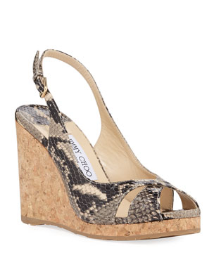 9044135aa21 Jimmy Choo Amely Snake-Print Slingback Wedge Sandals