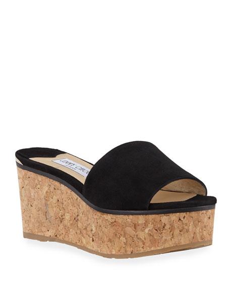 Jimmy Choo Deedee Suede Flatform Slide Sandals