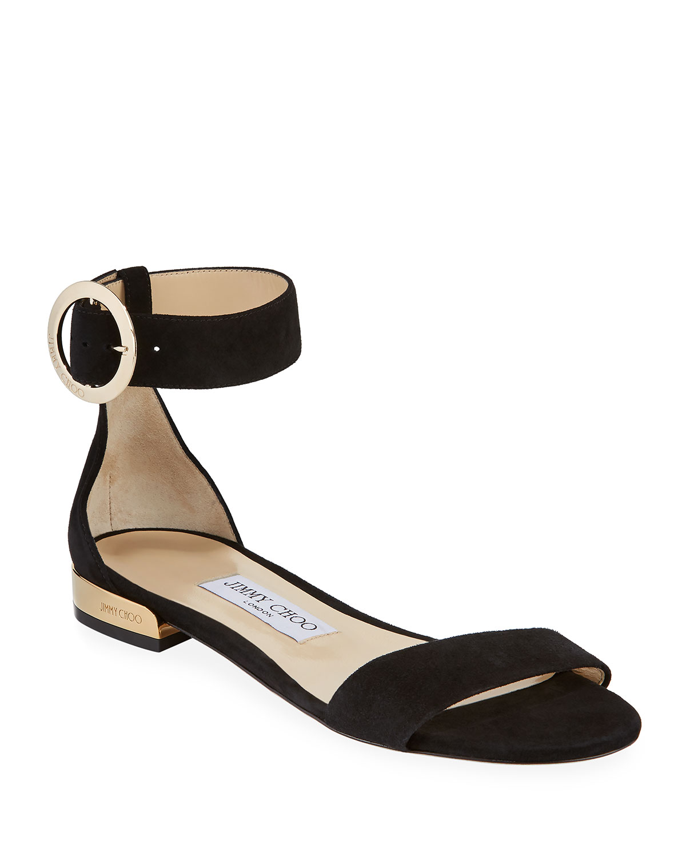 e0449de695d67 Jimmy Choo Jaime Flat Suede Ankle-Strap Sandals | Neiman Marcus