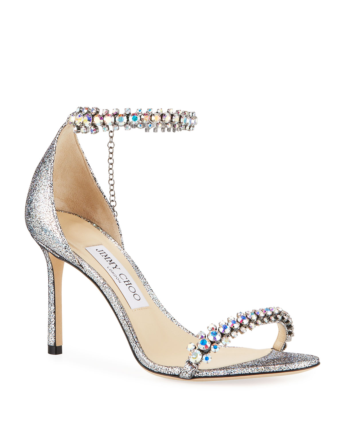 b3d279fa468c Jimmy Choo Shiloh Holographic Leather Sandals
