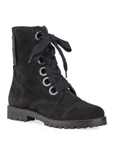 Joe Crystal-Trimmed Suede Combat Boots