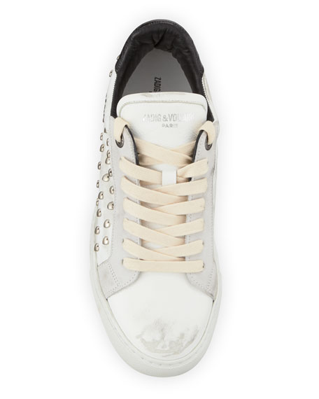 Zadig & Voltaire ZV1747 Distressed Heart-Studded Leather Sneaker