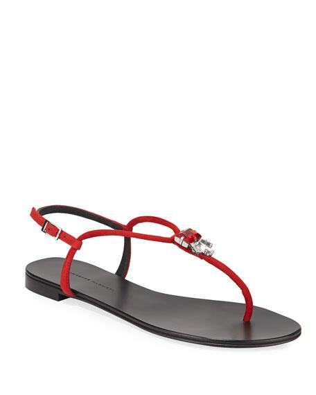 Giuseppe Zanotti Jeweled Suede Flat Thong Sandals