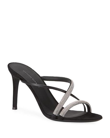 Giuseppe Zanotti Strappy Embellished Crisscross Slide Sandals