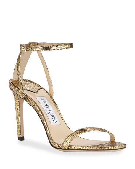 Jimmy Choo Metallic Textured Ankle Sandals