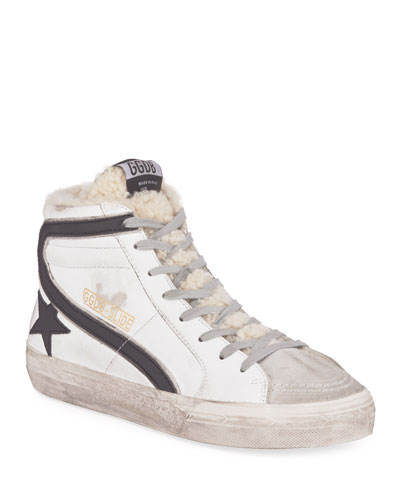 High-Top Shearling-Lined Sneakers