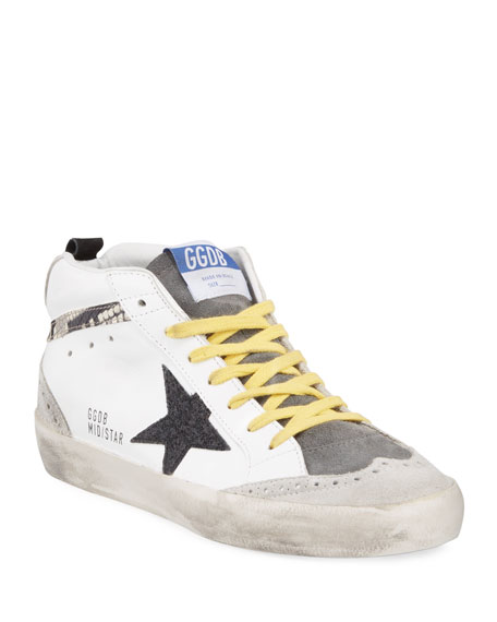 Golden Goose Mid Star Snake-Detailed Leather Sneakers
