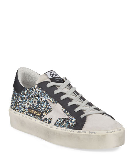 Golden Goose Hi Star Glittered Leather Platform Sneakers
